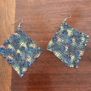 Peacock print dangle earrings